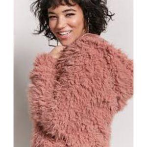Mauve-pink shaggy faux fur jacket